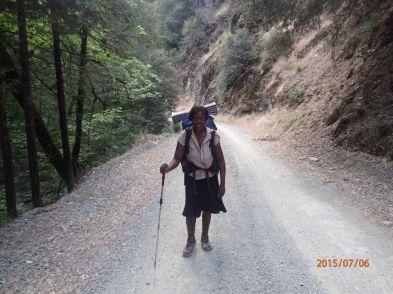 African American female hiker