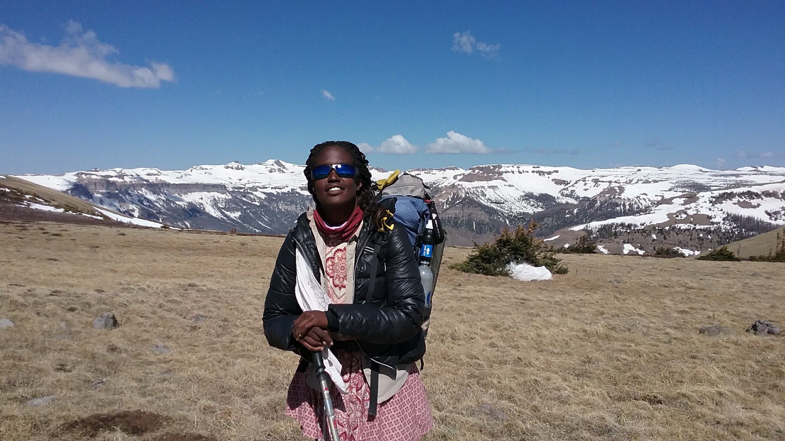 African American female hiking CDT